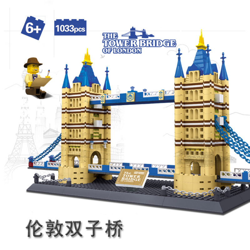 Famous Buildings Tower Bridge Model 1033 Pcs Building Blocks Sets Bricks Kids Educational Toys New Years Gift loz mini diamond block world famous architecture financial center swfc shangha china city nanoblock model brick educational toys