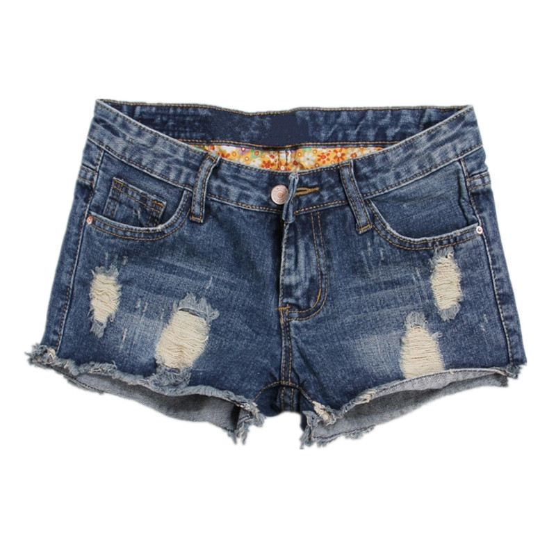 Summer new large size   short   jeans women broken holes Cat whisker high waist Self-cultivation Rolled edge casual   shorts   T1023