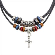 2016 New  Religion cross necklace beaded necklace double root braided leather cord necklace jewelry punk Collier for men Women