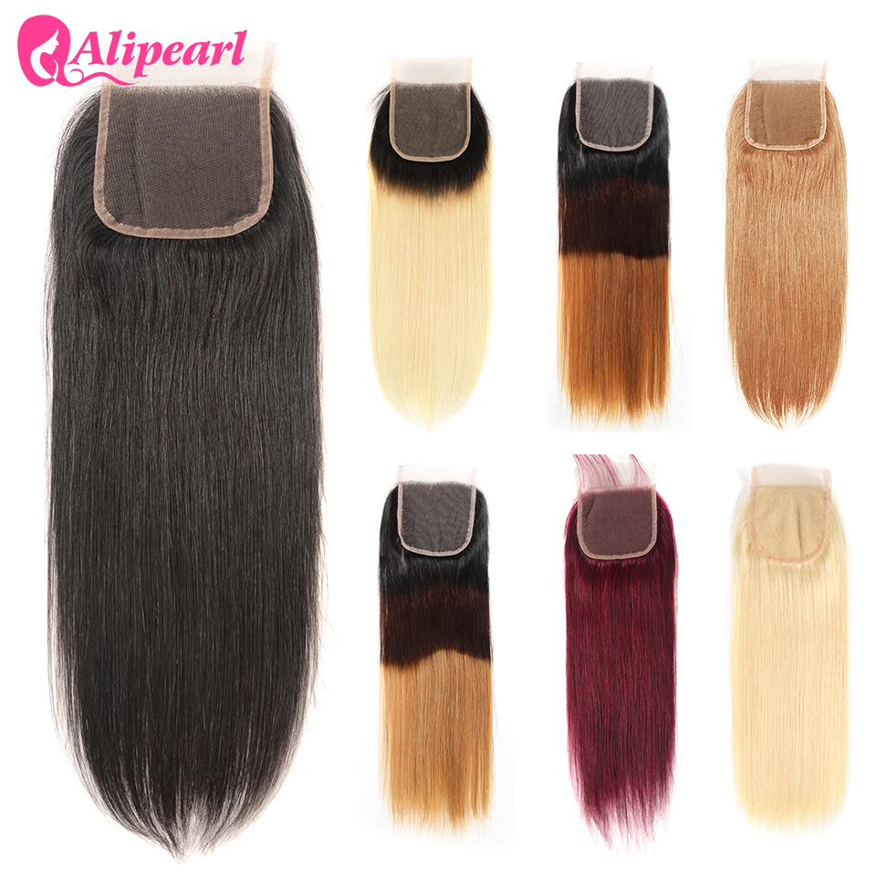 AliPearl Hair 613 Blonde Lace Closure 4x4 Free Part 7 Colors Available #27 1B/613 Brazilian Closure 10-20 inch Remy Hair image