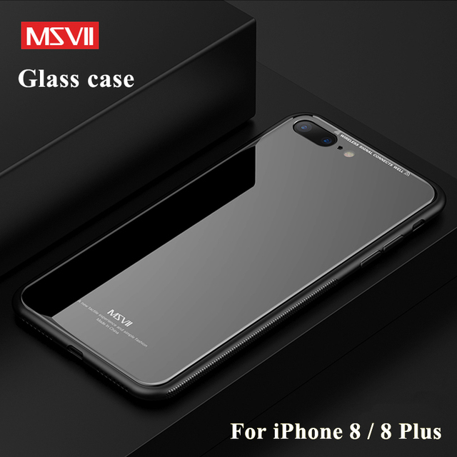 new product 89a3a bc34e US $4.97 25% OFF|For iPhone 8 Case MSVII coque For iPhone 7 plus cover  Silicon Frame + Mirror Tempered Glass Cover For Apple iPhone 8 Plus  Cases-in ...