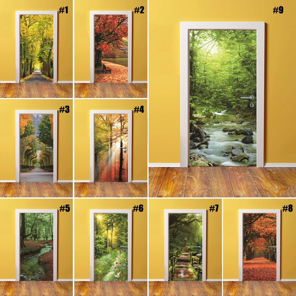 Self Adhesive Decal Home Decor Forest DIY Door Sticker Tree Landscape Paper For Living Room PVC Waterproof 3D Print Photo Art