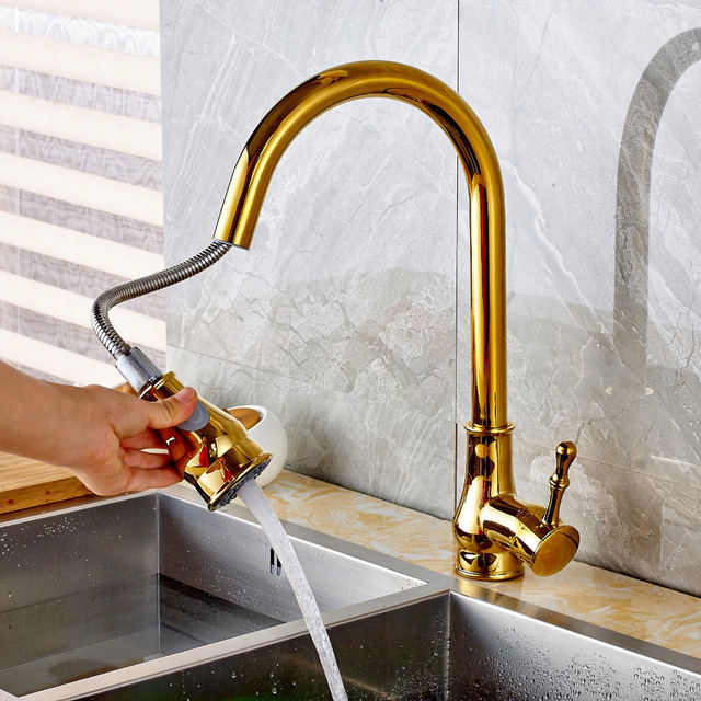 Luxury Golden Brass Kitchen Faucet Pull Out Vessel Sink Mixer Tap Pull Out Spout