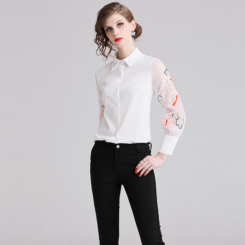 2019 Spring New Fashion Women Blouse Office Ladies Casual Chiffon White Floral Embroidery Turn-down Collar Long Sleeves Blouse