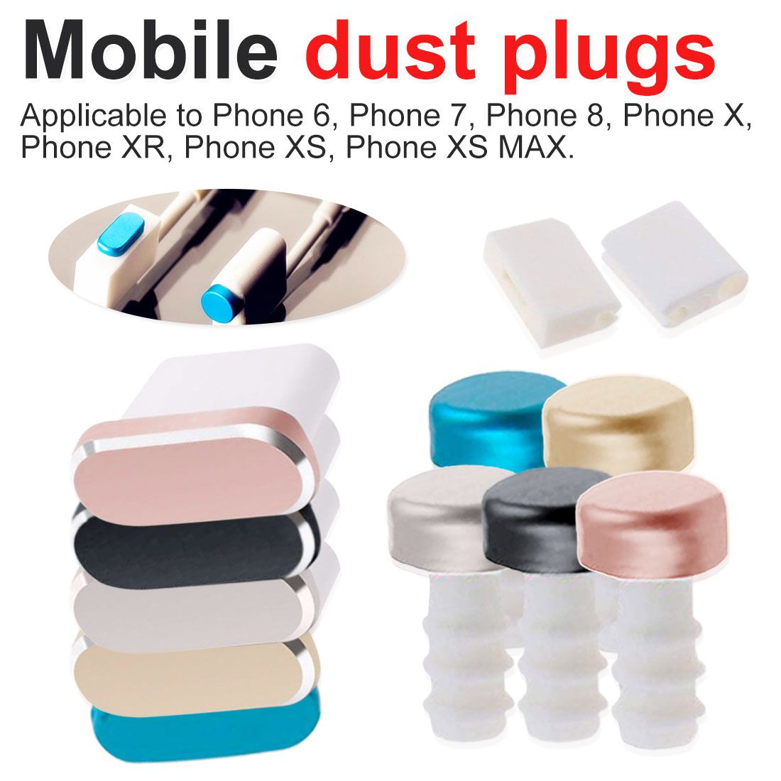 Metal Skin PC Charger Port Anti Dust Plug For IPhone 7 8 X 6S Plus Cap Stopper Cover Phone Accessories Universal Charging Plug