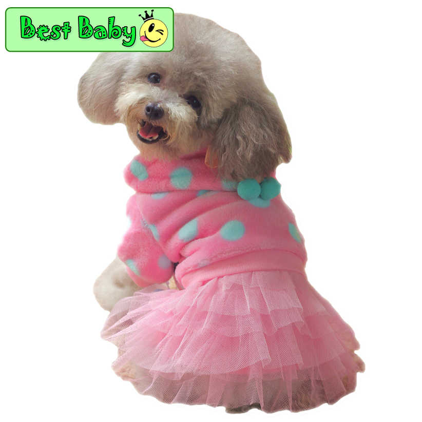 New Fashion Pets Dresses For Dogs CQ22 Small Yorkshire Poodle Winter Autumn Costumes Blue Pink Dots Party Cuddly Cat Supplies