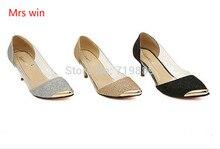 จัดส่งฟรีผู้หญิง2016ออกแบบใหม่เซ็กซี่แฟชั่นส้นสูงแพลตฟอร์มประดับด้วยเลื่อมผ้ารองเท้า/รองเท้าผู้หญิงขนาด: 34-40