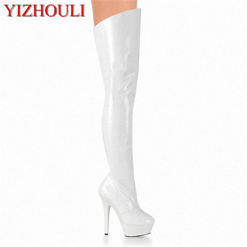Sexy Thigh High Boots 6 Inch High Heels Fashion Platform Womens Over The Knee Boots 15cm High-Heeled Boots Pipe Dance Boots platform high heeled over the knee boots