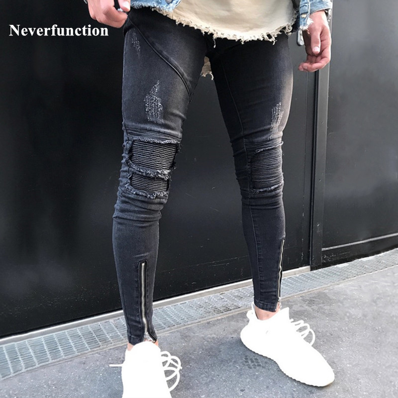 Neverfunction New Men Pleated Skinny Biker Jeans Homme Hip Hop Denim Pants Joggers Ripped Streetwear Motorcycle Slim Fit Jeans
