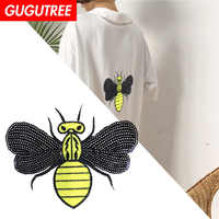 GUGUTREE Sequins embroidery big bee patches animal patches badges applique patches for clothing XC-394