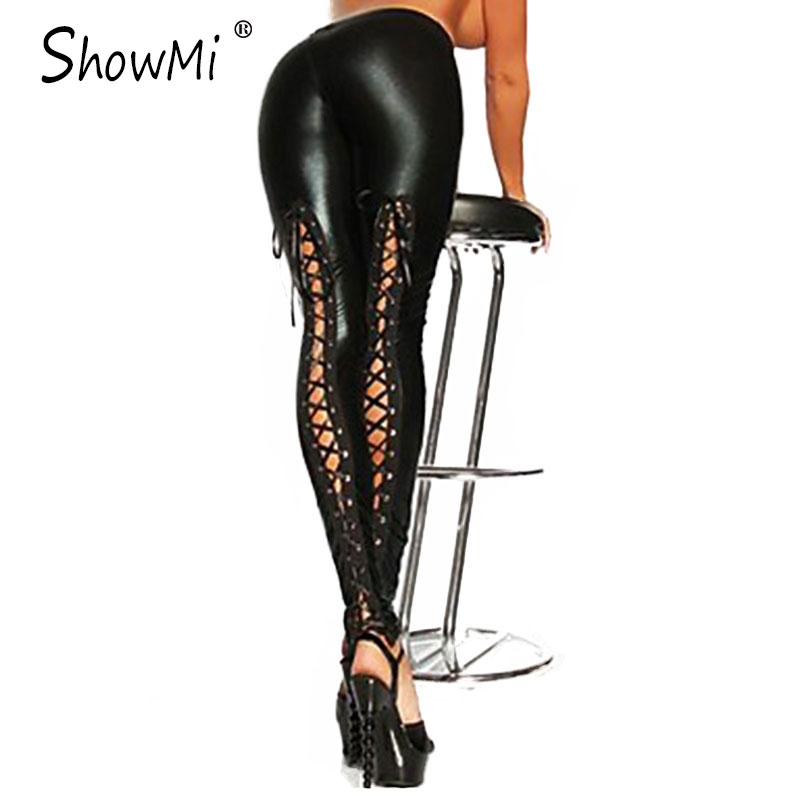 ShowMi High Quality One Size Gothic Punk Rock Back Lace Up Black Leggings Women Bandage Ladies Sexy PU Faux Leather Leggings