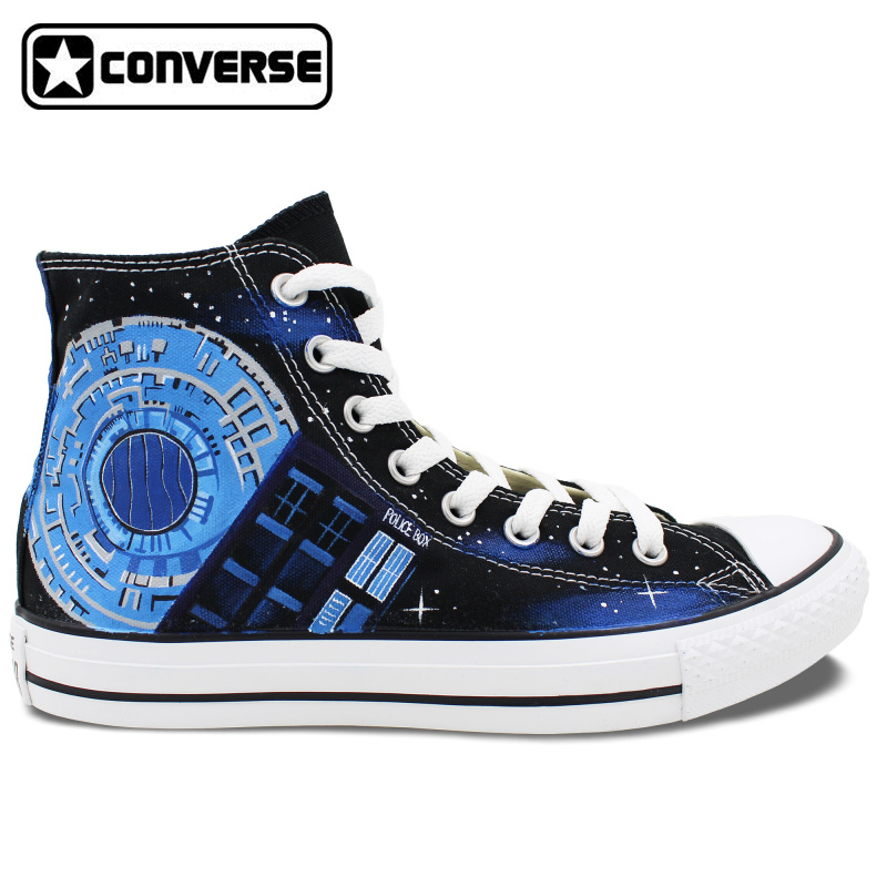 24b5ab3daa Design Custom Police Box Galaxy Converse All Star Womens Mens Shoes Hand  Painted Canvas Skateboarding Shoes