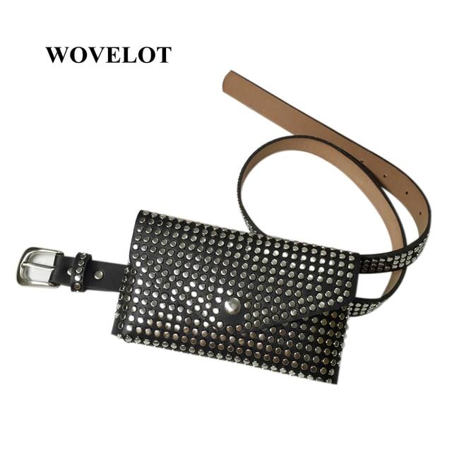 FGGS Fashion Rivets Waist Pack Luxury Designer Fanny Pack Small Women Waist Bag Phone Pouch Punk Belt Bag Purse(Black)