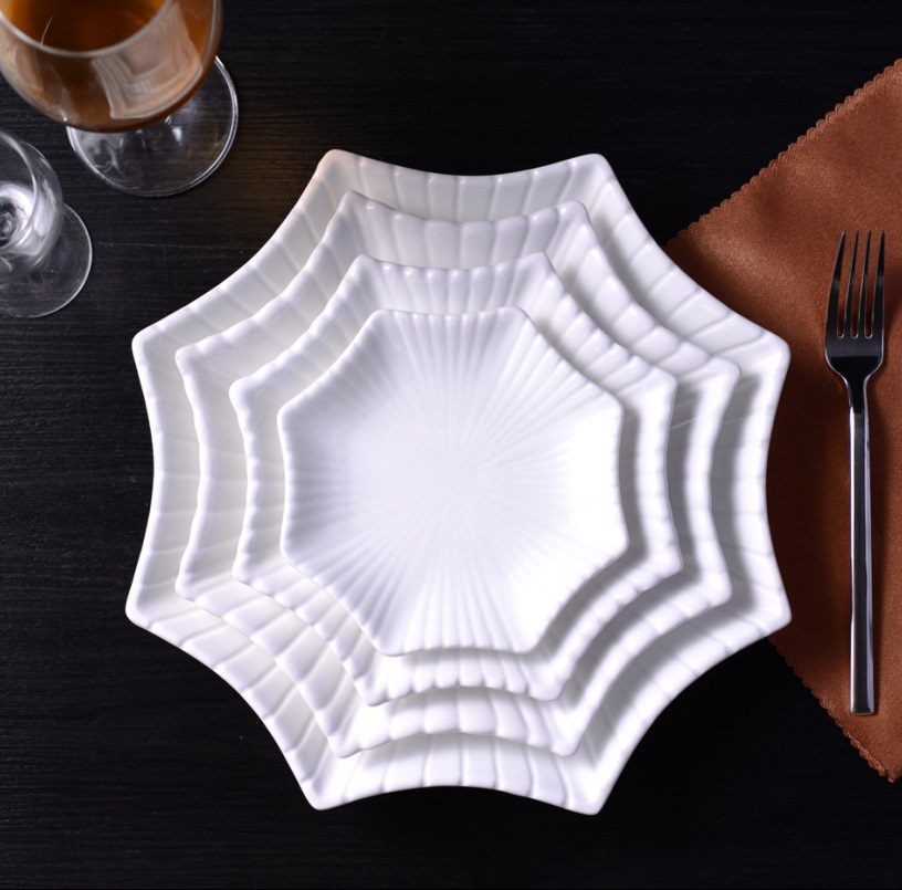 Fashion Ceramic Octagonal Serving Dish Set Decorative Porcelain Dinner Plate Chinaware Tableware for Pastry, Salad and Appetizer
