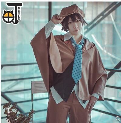Bungo Stray Dogs Anime Edogawa Ranpo Cosplay Costume Full Set Cape+Vest+Shirt+Tie+Pants+Hat