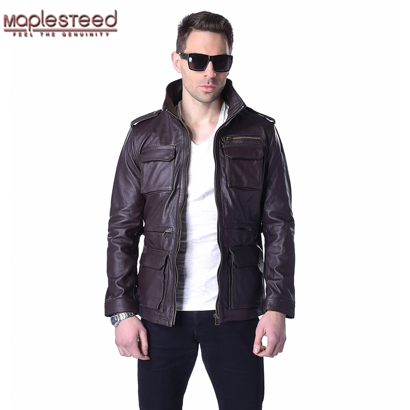 Factory M65 Genuine Leather Jacket Men Real Cow Skin Black Wine Red Brown Military Bomber Motorcycle Biker Male Leather Coat 143