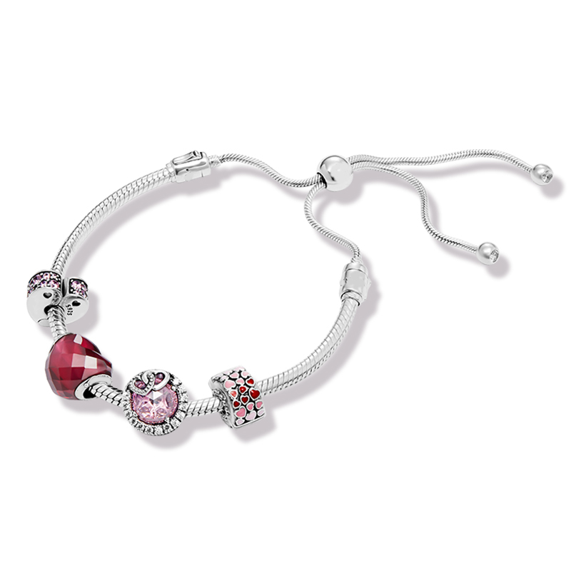 Authentic 925 Sterling Silver Original Love Europe Bracelet Set With Clear CZ Fit Women Bead Charm