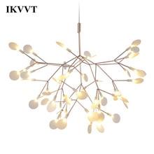 IKVVT Golden LED Pendant Lights Metal Acrylic Tree Branch Shape Indoor Light Fixtures Restaurant Living Room Lamp