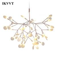 IKVVT Golden LED Pendant Lights Metal Acrylic Tree Branch Shape Indoor Light Fixtures Restaurant Living Room Pendant Lamp