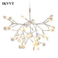 IKVVT Vàng LED Mặt Dây Chuyền Đèn Kim Loại Acrylic Nhánh Cây Hình Trong Nhà Đèn Nhà Hàng Phòng Khách Mặt Dây Chuyền Bóng Đèn
