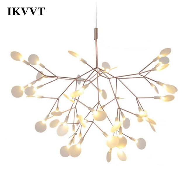 IKVVT złoty wisiorek led Lights metalowa akrylowa gałąź drzewa kształt światło wewnętrzne oprawy restauracja lampa żyrandol do salonu