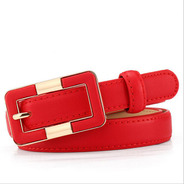 Himunu 2016 New Leather Belts for Women Pure Cowhide Leather Belt Fashion Wild Rectangular Belts Buckle Colors Red White Black