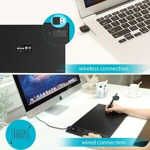 Image 5 - HUION Giano WH1409 V2 אלחוטי דיגיטלי עט לוח גרפי ציור לוח עם פונקצית הטיה סוללה משלוח Stylus וכפפות