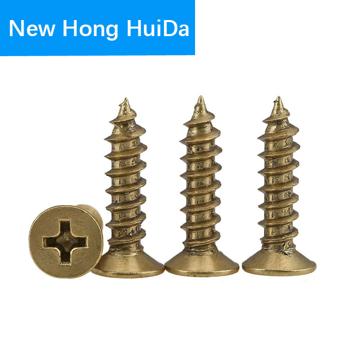 Phillips Brass Flat Head Self Tapping Screw Metric Thread Cross Recessed Countersunk Metal Bolt Standard Hardware M3 M3 5 M4 M5 in Screws from Home Improvement