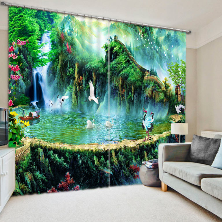 Fashion 3d Curtains Photo Customize Size Spring Scenery 3d