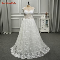 100 Real Photos BakeLakeGirls Custom Made Sleeveless With Full Appliques And Back Button Sexy Wedding Dress