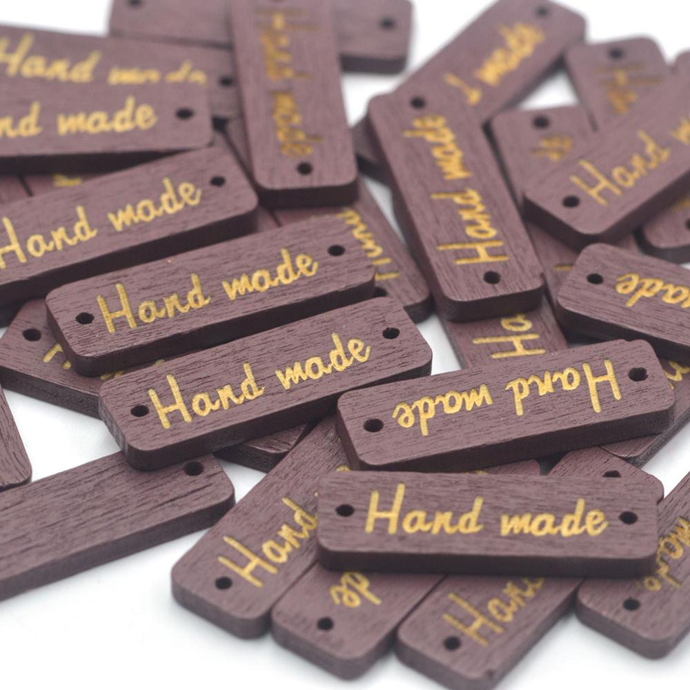 Assorted Handmade Label 50pcs Assorted Colors Wood Long Oval Handmade Tag 8x34mm Black White Brown Handmade Wooden Pendant Wood Tag