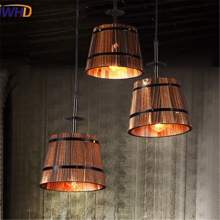 IWHD Loft Retro Wood Pending Light Fixturs Vintage Industrial HangLamp Creative Restaurant Pendant Lights cafe Lamps Lamparas loft style vintage pendant lamp iron industrial retro pendant lamps restaurant bar counter hanging chandeliers cafe room