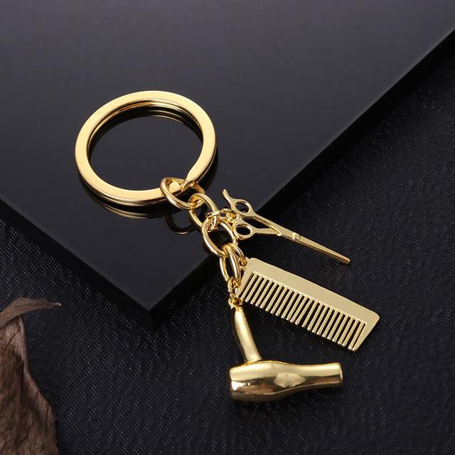 Gadget Metal 2-color Creative Scissors Hair Comb Blower Three-piece Fine Pendant Car Key Ring Auto Accessories