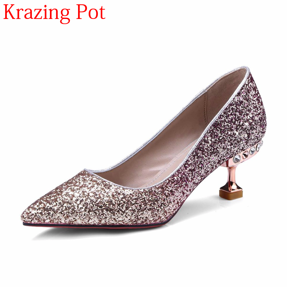 2018 Sequined Cloth Wedding Shoes Shallow Stiletto High Heels Bling Women Pumps Pointed Toe Slip on Party Nightclub Shoes L5f1 women nightclub platform bling bling open toe high heels summer pumps slip on stiletto heel sandals wedding party dress shoes