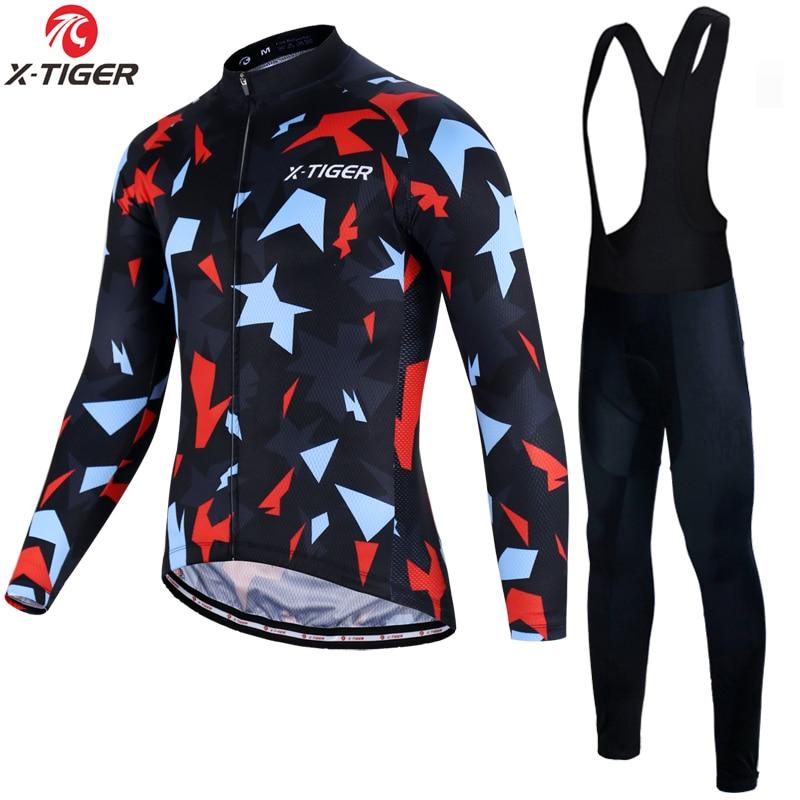 X 虎長袖プロサイクリングジャージセットレーシングバイク服着用マイヨ Ropa Ciclismo MTB 自転車サイクリング服スーツ  グループ上の スポーツ & エンターテイメント からの サイクリングセット の中 1