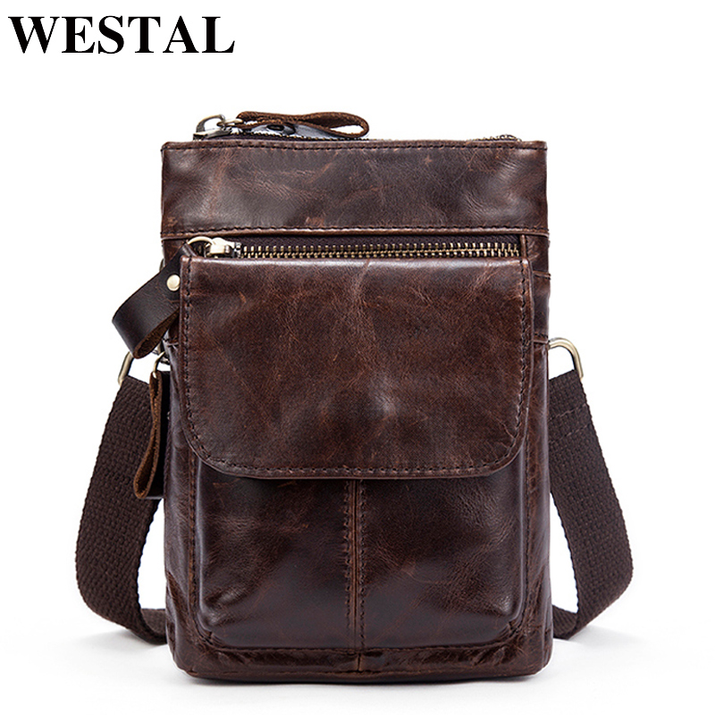 WESTAL Men Bags Genuine Leather Waist Pack Small Crossbody Messenger Bag Men Shoulder Bags Belt Phone Pouch Bag Male Pouch 8868 westal crossbody bags shoulder bag men genuine leather messenger bag zipper cell phone pocket black business small bags 1023