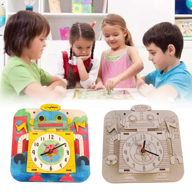 Baby Kids Education Wooden Puzzle Toys Handcrafted Toys Self Assembled Robot Clock Jigsaw Puzzle Toy For Childrens Gift
