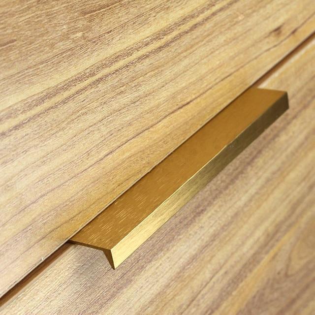 Moderne Einfache Schranktür Rand Griff Schrank Schublade Gebürstetem Gold  Versteckte Möbel Griff Küchenschrank Pull