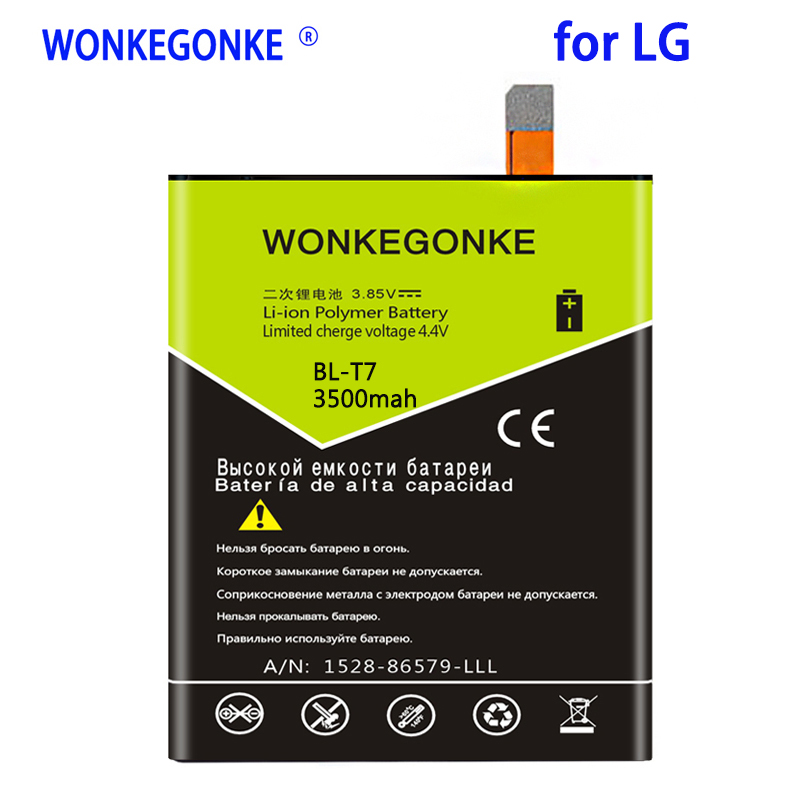 WONKEGONKE 3500mah <font><b>BL</b></font>-<font><b>T7</b></font> Battery for <font><b>LG</b></font> Optimus G2 D802 D803 4G LTE D800 D801 LS980 Phone Batteries Bateria image