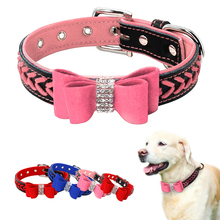 Bling Rhinstone Dog Collar Bowknot Padded Leather Puppy Cat