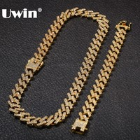 UWIN NE+BA Fashion Jewelry Necklaces & Bracelets 15mm Fashion Gold Color Iced Out 2 Row Prong Cuban Link Chains For Men Women