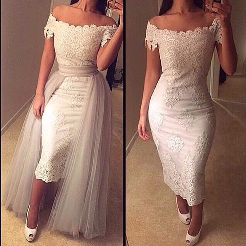 Sexy Off the Shoulder Boat Neck Lace Prom Gown with Removable Tulle Train Unique Design Party Dress for Wedding Party
