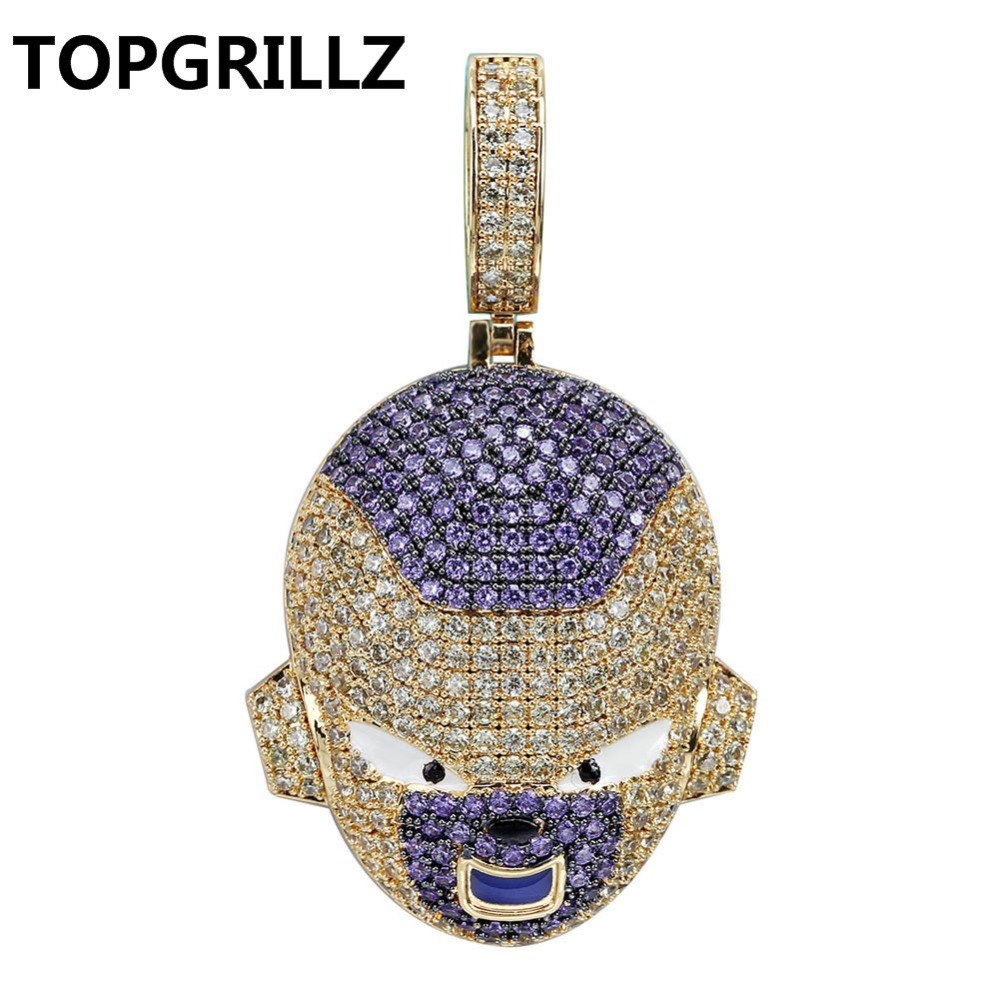 TOPGRILLZ Dragon Ball Character Frieza Pendant Necklace Iced Out Cubic Zircon Hip Hop Gold Silver Color Men Charms Chain JewelryTOPGRILLZ Dragon Ball Character Frieza Pendant Necklace Iced Out Cubic Zircon Hip Hop Gold Silver Color Men Charms Chain Jewelry