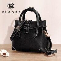 EIMORE Black Women Handbag Genuine Leather Female Casual Tote Bag Luxury Designer Women Shoulder & Crossbody Bags Cow Leather