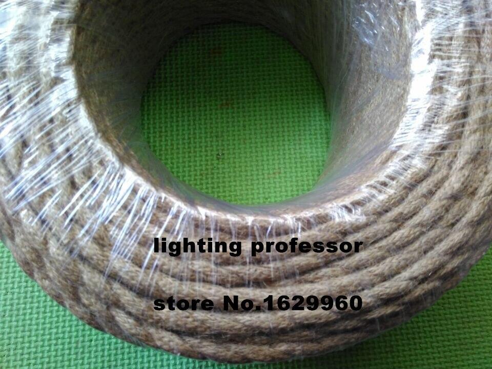 100 m 2 core rétro tressé électrique fil tissu câble bricolage pendentif lampe fil vintage chanvre corde torsadé câble métallique - 5