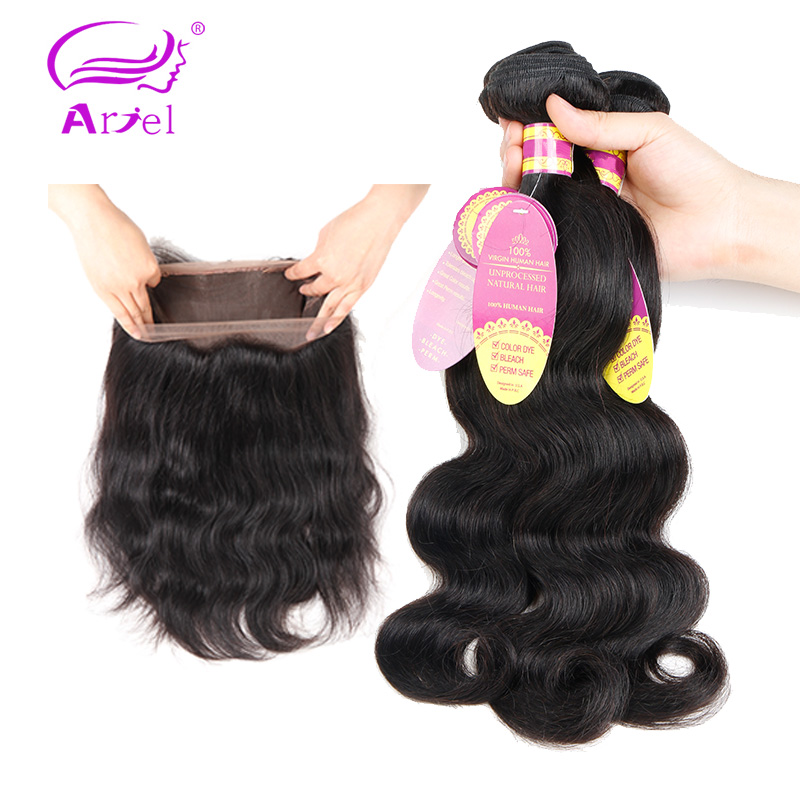 Ariel Peruvian Body Wave 360 Lace Frontal Closure With BundlesHuman Hair 3 Bundles With Closure Non
