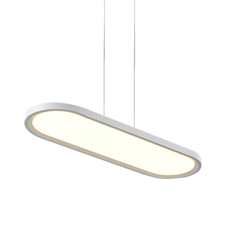 Us 118 8 28 Off Slim Flat Panel Led Pendant Light Long Oval Black White Hanging Suspended Panel Lamp For Office Dining Room Study Table In Pendant
