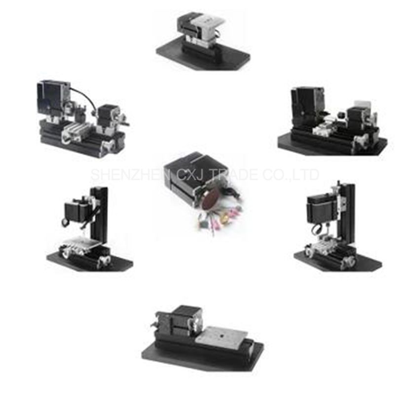 Metal Mini Multipurpose 6 in 1 Lathe Machine with 20000r/min Powerful 24W Motor DIY Tools Lathe/Milling/Drilling Machine
