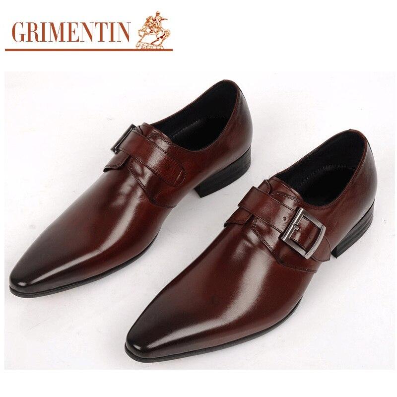 GRIMENTIN Men Dress Shoes Buckle Strap Genuine Leather