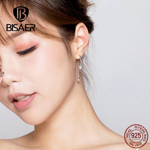 Image 5 - BISAER Rock Stil 925 Sterling Silber Geometrische Übertreibung Stud Ohrringe für Frauen Cubic Zirkon Sterling Silber Schmuck ECE638